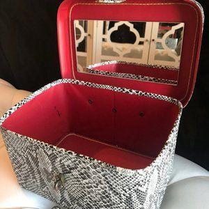Handbags - Vintage Faux Snake Skin Purse Cosmetic Train Case